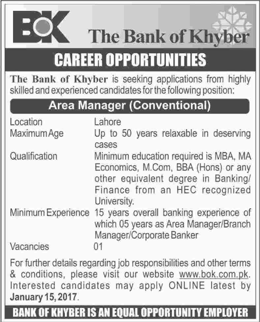 The Bank of Khyber Manager jobs