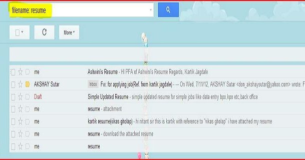 Gmail Filename search operator locates all Emails with Specific Name - filename for resume