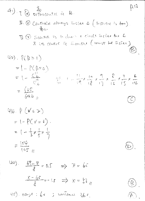 2019 DSE Math Paper 2 Detailed Solution 數學 卷二 答案 詳解 Q41,42,43,44,45