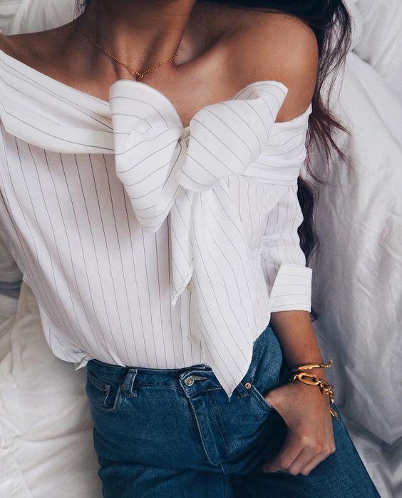 Off Shoulder Pinstripe Bow Top + High Waist Jeans