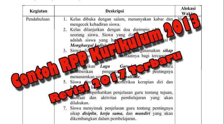 13 Komponen Rpp Terbaru Beserta Contoh Rpp Sd Kurikulum 2013 Revisi 2017 Bisa Download Coretan Guru