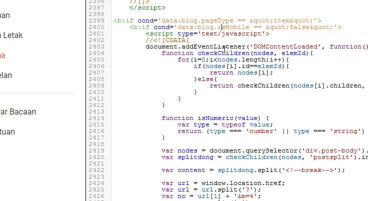 kode Split atau membagi post jadi beberapa halaman di blogger