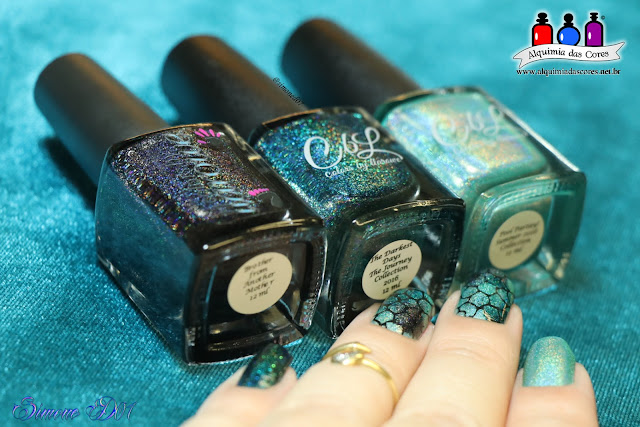 The Darkest Days,Sumer 2016 Collection, Brother from Another Mother, Pool Partay!, Sugar Bubbles, SB021, unha carimbada, esponjado, holográfico, nail art, Esmaltes La Femme, Preto para carimbo, preto, verde, verde água, carimbo, Mony D07, Colors by Llarowe, CBL,