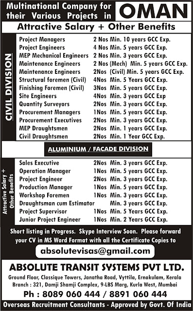 Oman Jobs, Absolute Transit Systems PVT LTD, Project Manager, Mechanical Engineer, MEP Engineer, Draughtsman, Operations Manager,