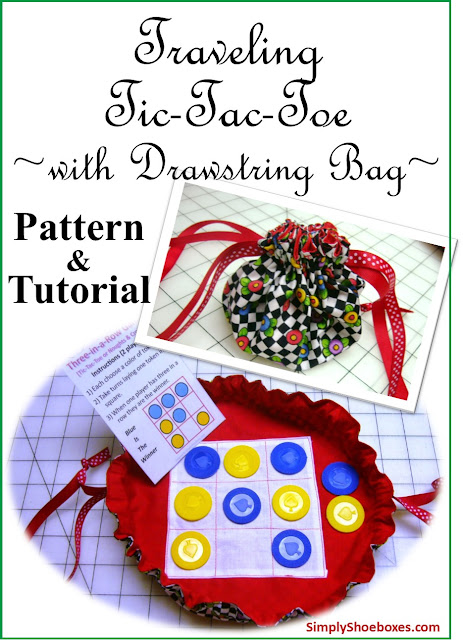 Traveling Tic-Tac-Toe game with drawstring pattern and tutorial.