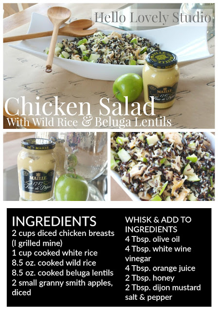 Easy healthy recipe gluten-free Chicken Salad with Wild Rice, Lentils, and Granny Smith Apples