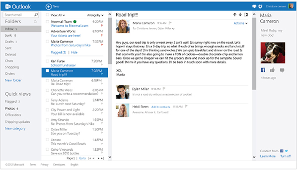 Interface do Outlook