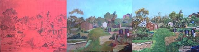 Davey hampshire gardening sheds art WIP