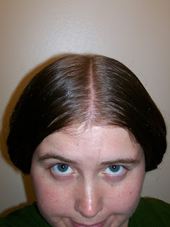 Wide 1850s hair, top front view.
