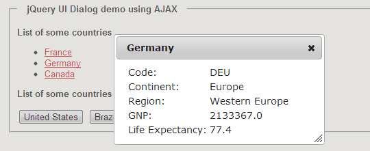 jQuery dynamic UI Dialog box content