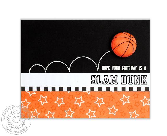 Sunny Studio Stamps: Team Player Slam Dunk Basketball Birthday Card by Mendi Yoshikawa