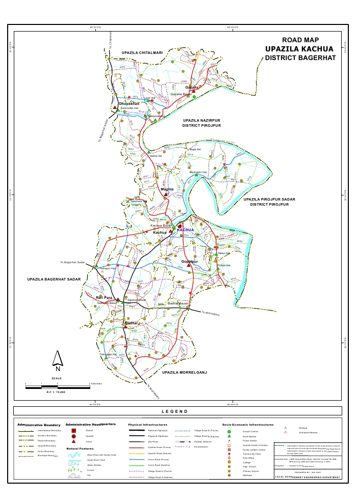 Kachua Upazila Road Map Bagerhat District Bangladesh