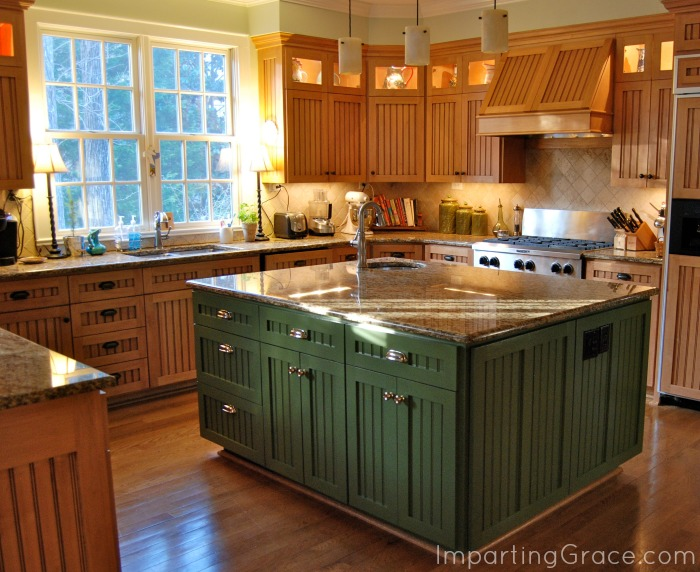 colored kitchen islands stove backsplash imparting grace making changes in my i realized that when looked at all saw was a sea of brown no more the island color is another sherwin williams oakmoss