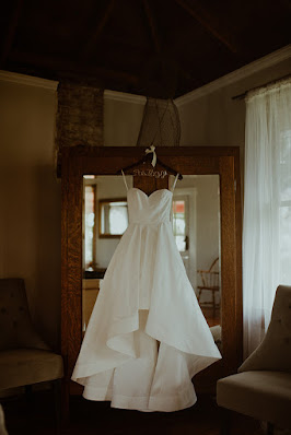 chic wedding dress hanging