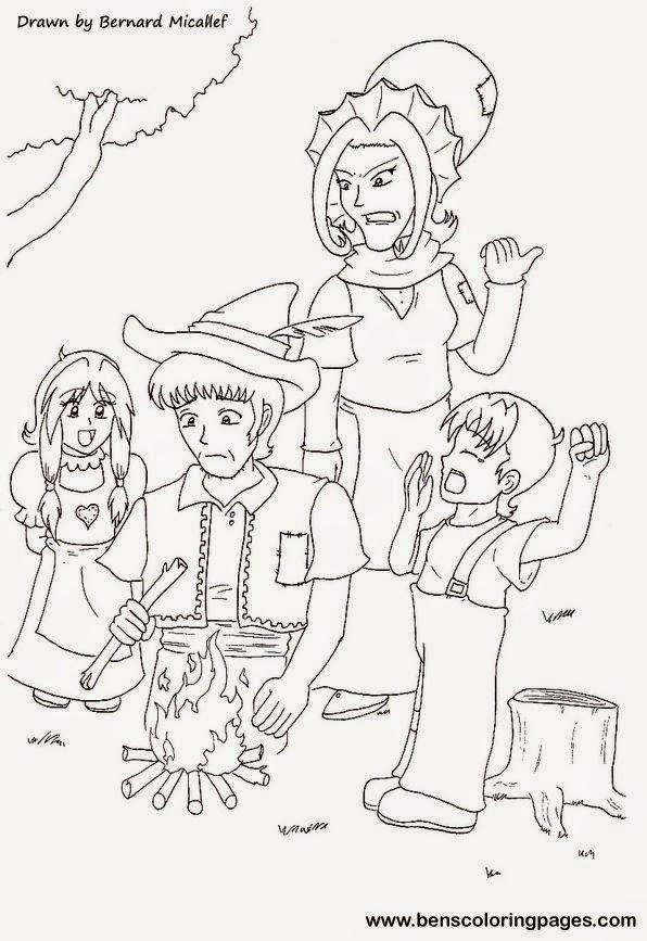 Cuentos infantiles: Hansel y Grettel para colorear. Cuento