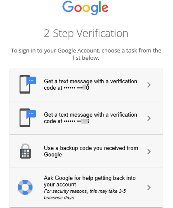 google sms verification