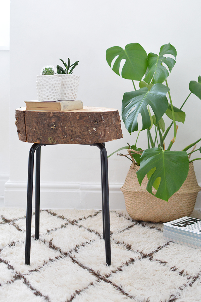 ikea hack wood slice side table