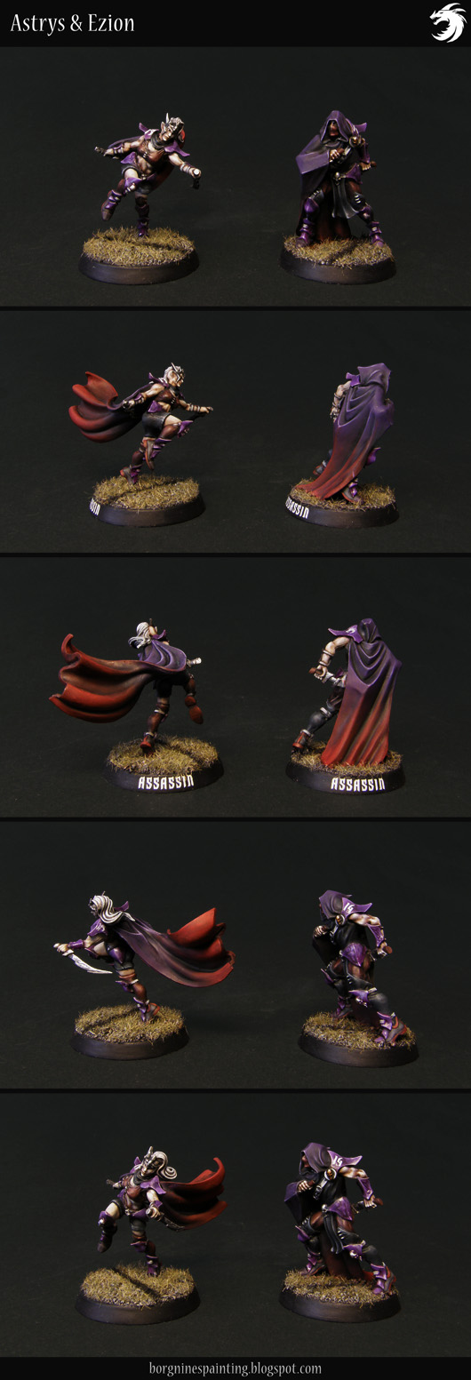 2 painted miniatures of Dark Elf Assassins from Forge World, for Blood Bowl, one male and one female, in a purple color scheme and a black-red gradient on capes.