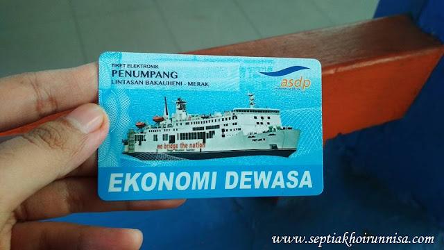 Tiket Kapal Ferry dalam bentuk kartu