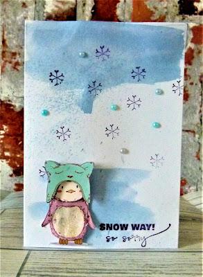 Close up of cute penguin card