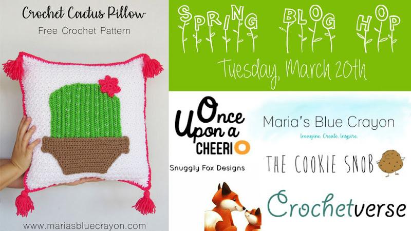 Spring Blog Hop: Festive Cactus Pillow Cover - Free Crochet Pattern