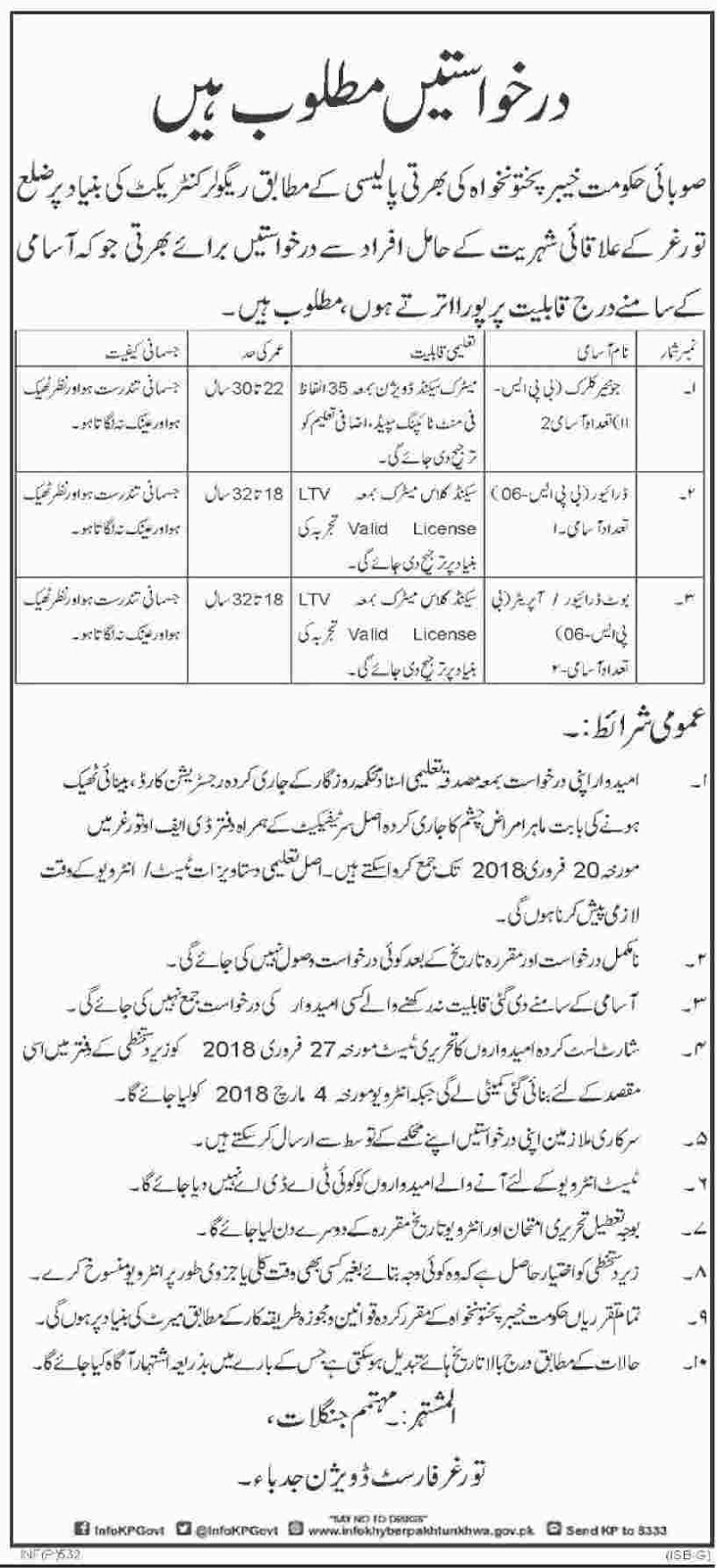 Jobs In Forest Department Torghar Division February 2018 - Dawn Newspaper