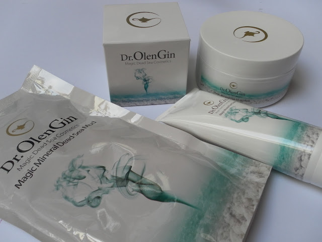 A picture of Dr. OlenGin body care, hair care and skincare products