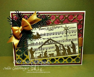 Our Daily Bread Designs, Away In A Manger, Boho Backgrounds Dies, Lovely Leaves Dies, Christmas Collection 2013 6x6 Paper -Julie Gearinger