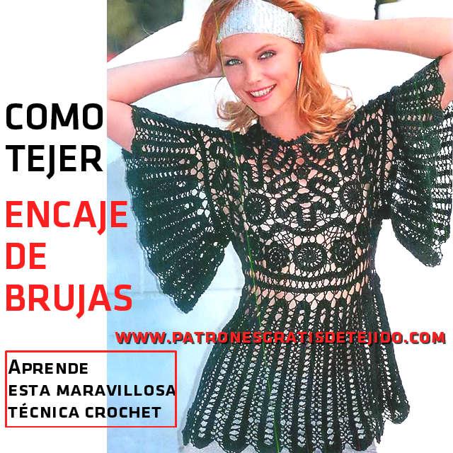 Cómo se teje el Encaje de Brujas / Paso a paso | Crochet y Dos ...