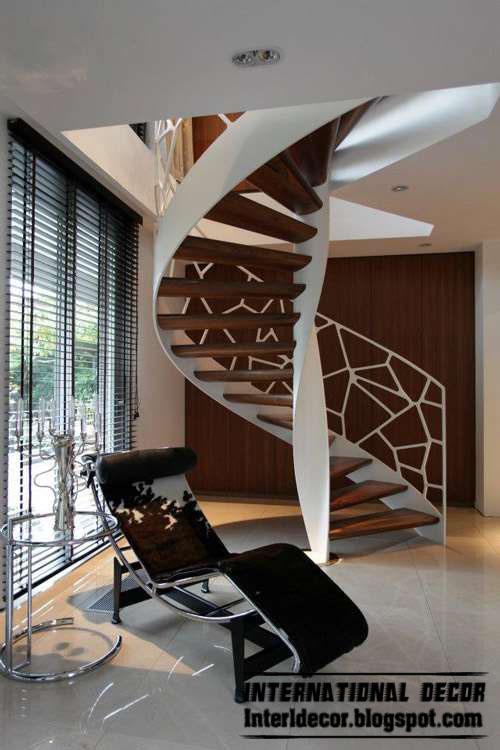 Round, spiral staircase, interior stairs designs