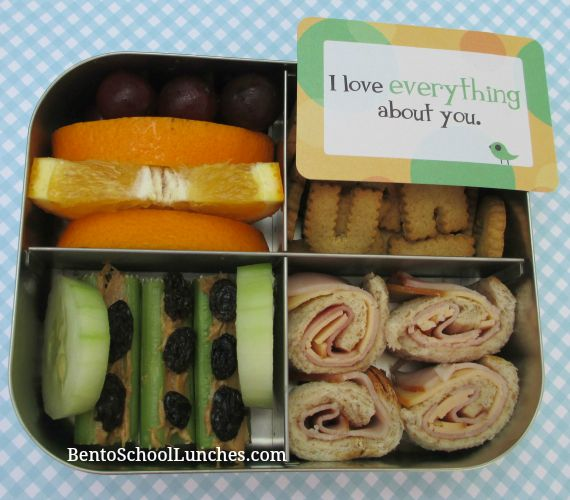 Roll-Ups school lunch, Lunchbox love note.