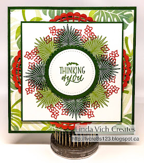 Linda Vich Creates: Tropical Chic Wreath Card. Tropical Chic is used to create a palm leaf wreath on this lovely card.