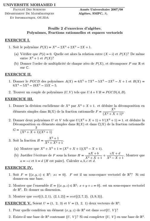 exercices Algèbre: Polynomes Fractions rationnelles et espaces vectoriels  SMPC S1 FSO