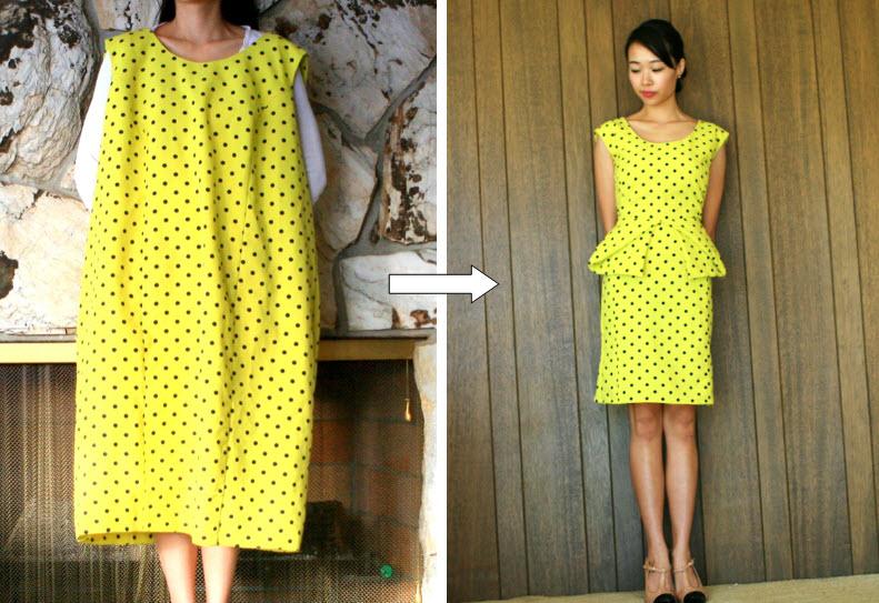 ca15b8bb33 DIY  thrift dress to origami peplum dress