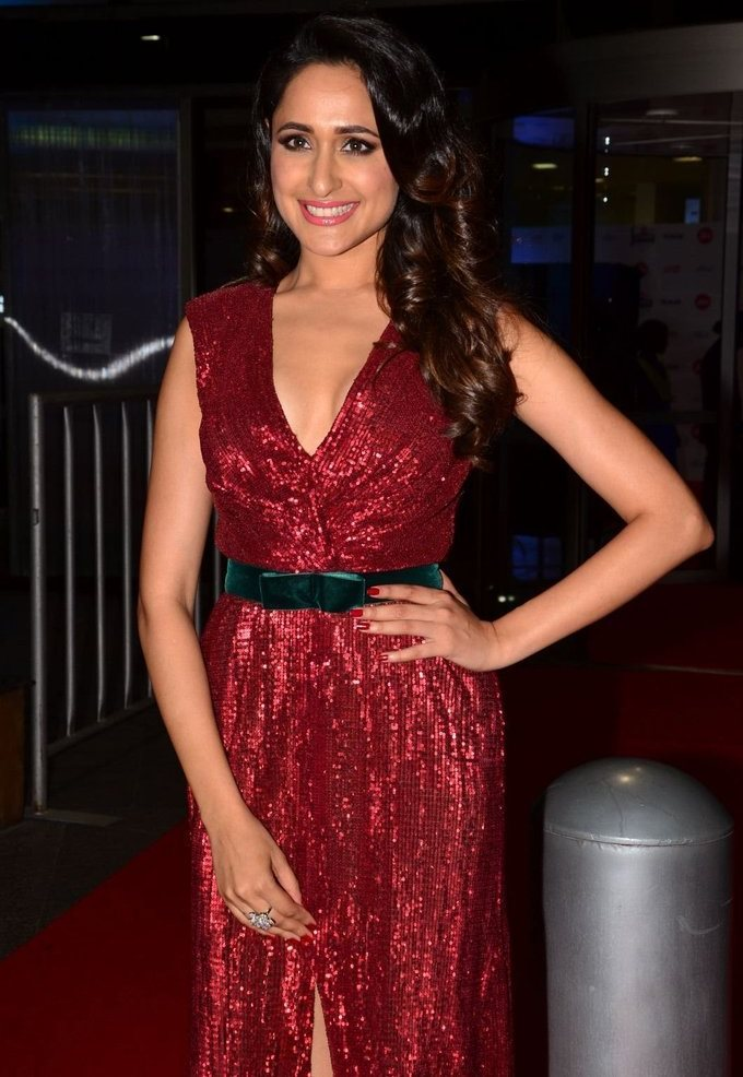 Pragya Jaiswal In Red Dress At Jio Filmfare South Awards 2017