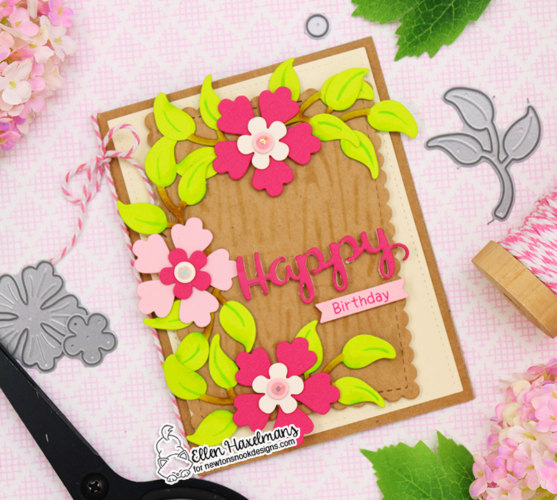 "Happy Birthday Floral Card by Ellen Haxelmans | Flower Trio, Holiday Greetings and ""Framework Die Sets with Woodgrain Stencil  by Newton's Nook Designs #newtonsnook #handmade"