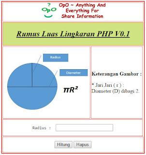 Menghitung Luas Lingkarang Menggunakan PHP Dan HTML