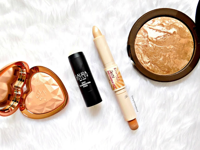 too faced ray of light, laura geller diamond dust, rimmel contour stick