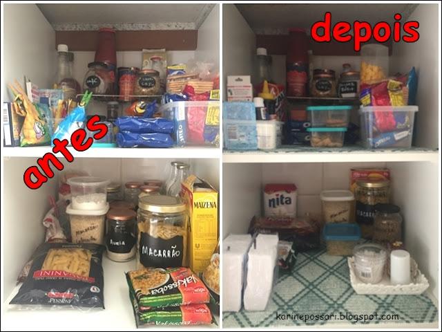organização do armário da cozinha