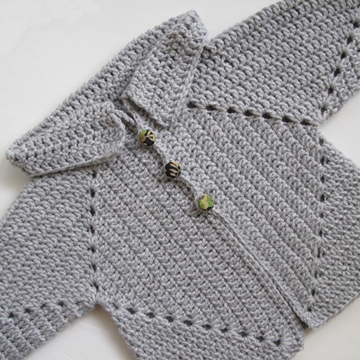 Sue's No holes Hexagon Baby Sweater Free Crochet Pattern Designed by Susan A. Coes of  Needle Workers Room
