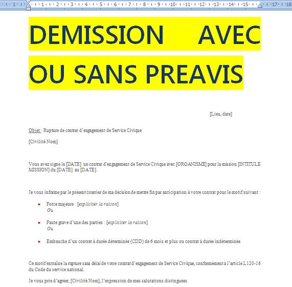 lettre demission sans preavis word doc | Cours génie civil