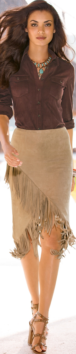 Boston Proper Asymmetric Fringe Skirt