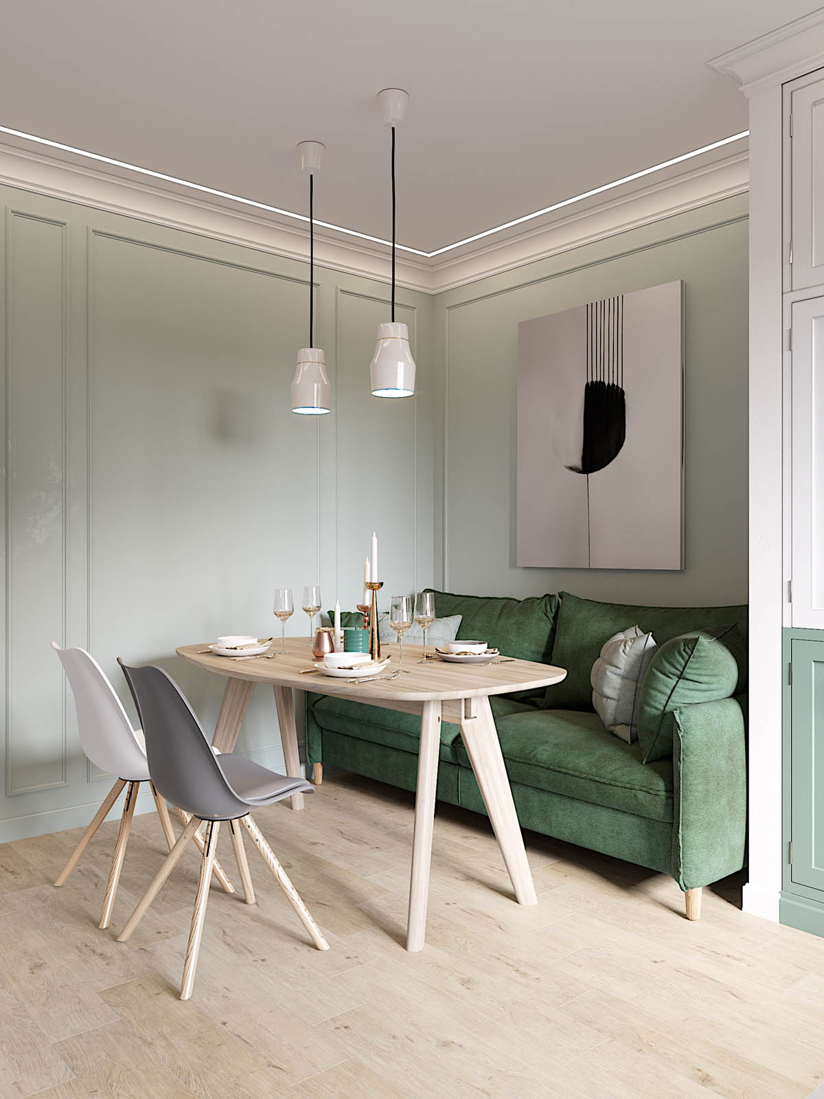 Sophisticated Scandinavian Style Home With Green Decor :: Cool Chic Style Fashion