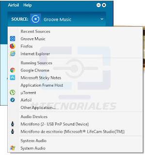 fuentes de audio para airfoil