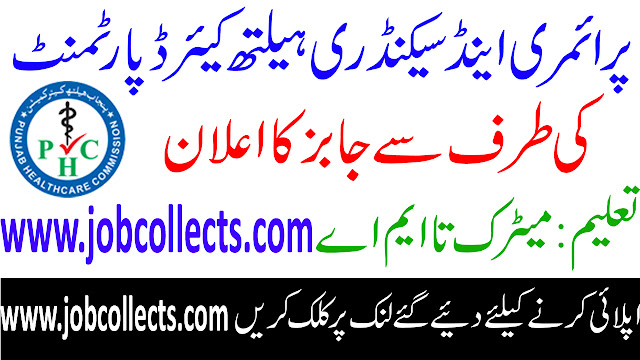 Primary And Secondary Healthcare Department Jobs In Pakistan