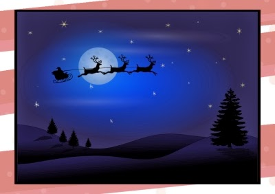 Santa leaves the North Pole in his sleigh pulled by flying reindeer to deliver toys on Christmas Eve.