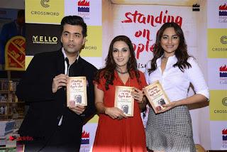 Sonakshi Sinha Karan Johar at Aishwarya Rajinikanth Standing on an Apple Box Book Launch Event  0069.jpg