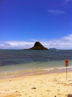 Picture of an island that goes by either the name of Mokolii Island or Chinaman's Hat