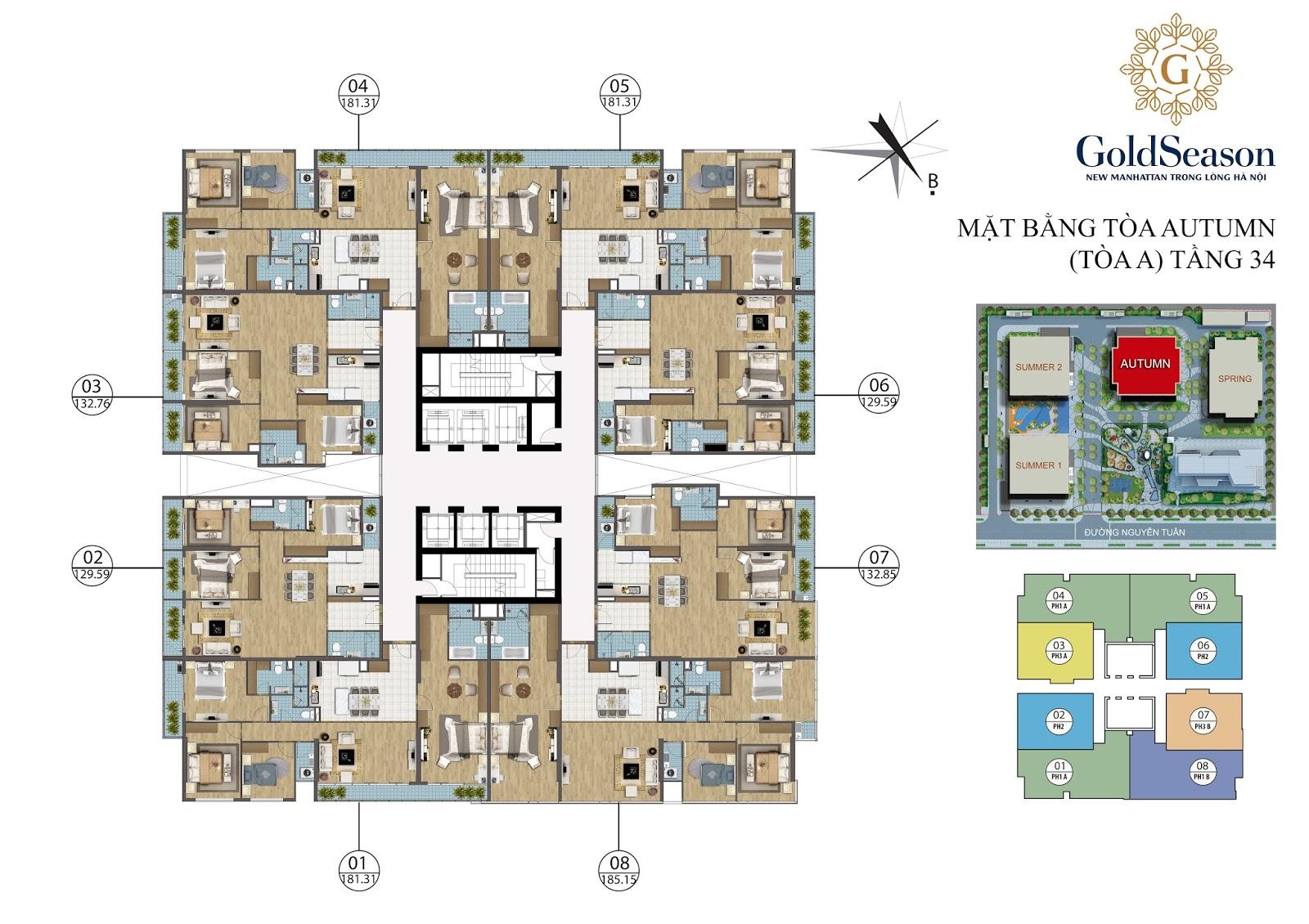 Mặt bằng điển hình căn hộ PenHouse tòa Autumn - GoldSeason