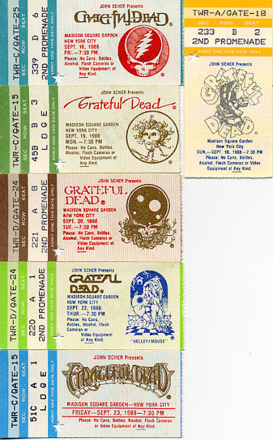 Grateful Dead, September 16, 18, 19, 20, 22, and 23, 1988